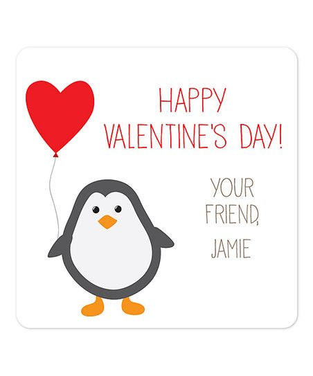 sarah + abraham Penguin Valentines Day Personalized Gift Label - Set