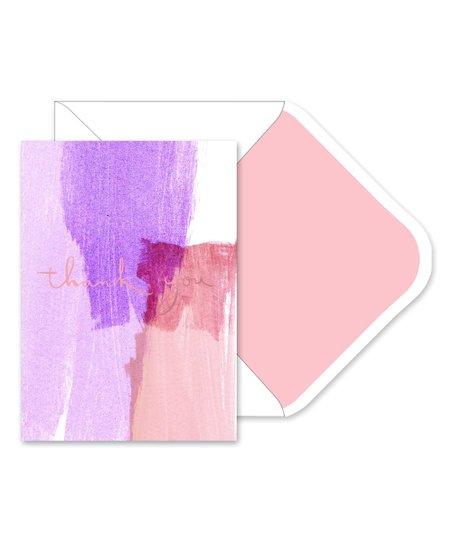 Fringe Studio Purple  Pink Brushstroke Thank You Note Cards Zulily
