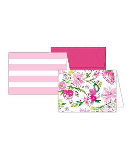 RosanneBECK Pink  White Note Card Set Zulily