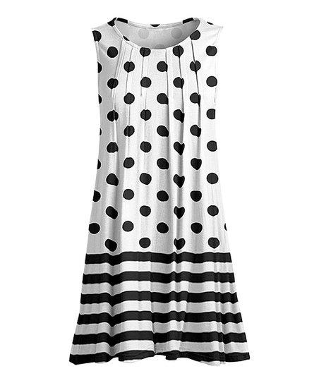 Lily Black  White Polka Dot Stripe Pin Tuck Sleeveless Tunic