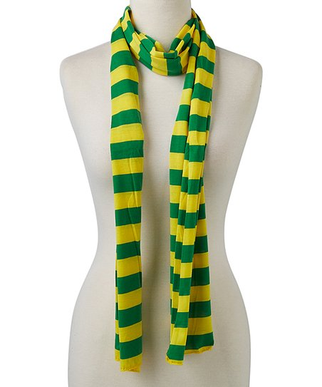 Tickled Pink Green  Yellow Stripe Jersey Scarf Zulily