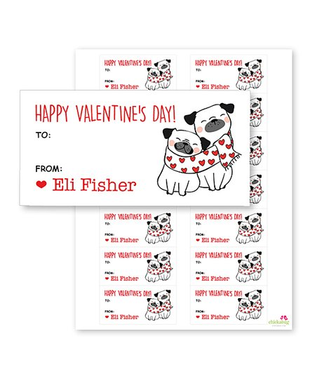 Chickabug Happy Valentines Day Pug Personalized Valentine Label