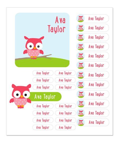 sarah + abraham Pink Owl Personalized Labels - Set of 96