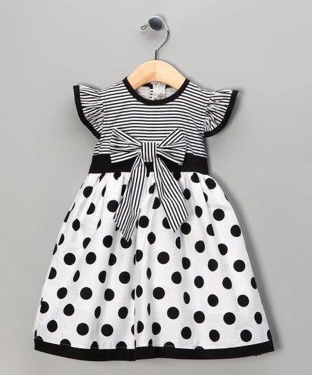 Maggie Peggy Black Polka Dot Stripe Dress - Toddler  Girls Zulily