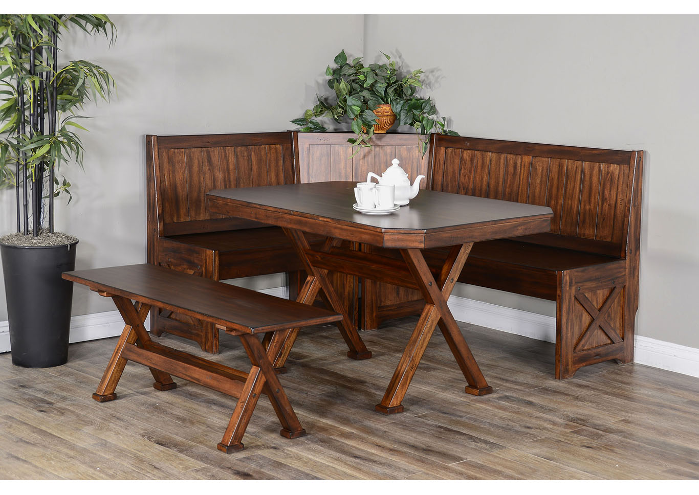 Tuscany Breakfast Nook Set With Side Bench Nader S Furniture