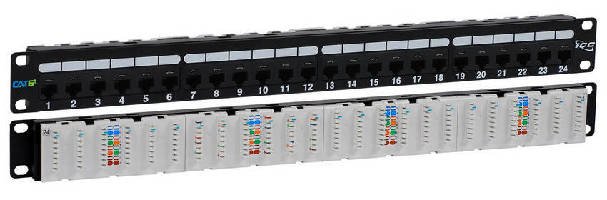 CAT 6A Patch Panel features 110-Type IDC terminals on rear