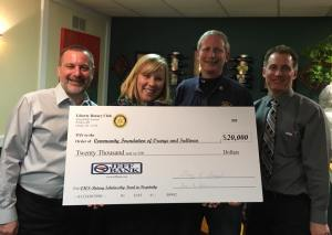 Elizabeth Rowley, President & CEO of the Community Foundation of Orange and Sullivan visited a recent meeting of the Liberty Rotary Club and is joined by officers Gary Siegel, Gary Silver and Gary Silverman, to accept the seed money for the fund.