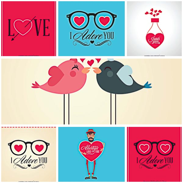 Cute birds postcards Valentines Day set vector Free download