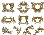 Golden Vintage Ornate Frames Set Vector Free