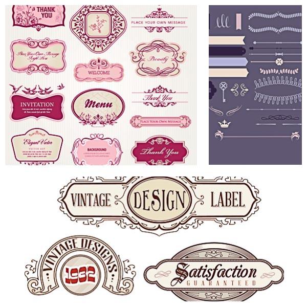 Vintage design label set vector Free download