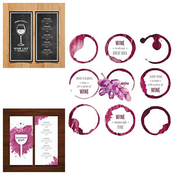 Wine list stain circles template vector Free download - free wine list template