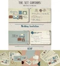 Vintage stamps wedding iInvitation set | Free download