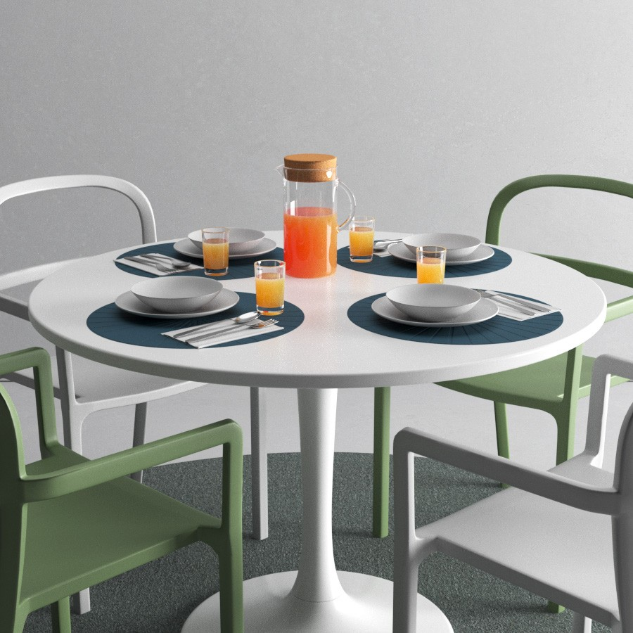 Ikea Ypperlig Ikea Docksta Table And Ypperlig Chair With Tableware 3d Model