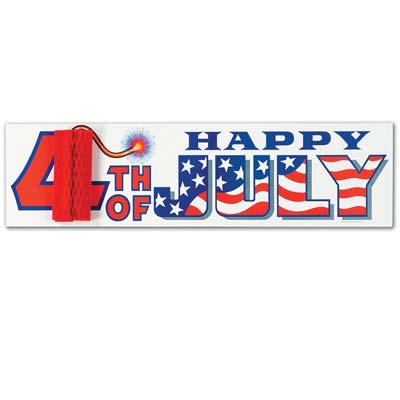 4th Of July Sign with Tissue Firecracker 8 x 31in - Coolglow