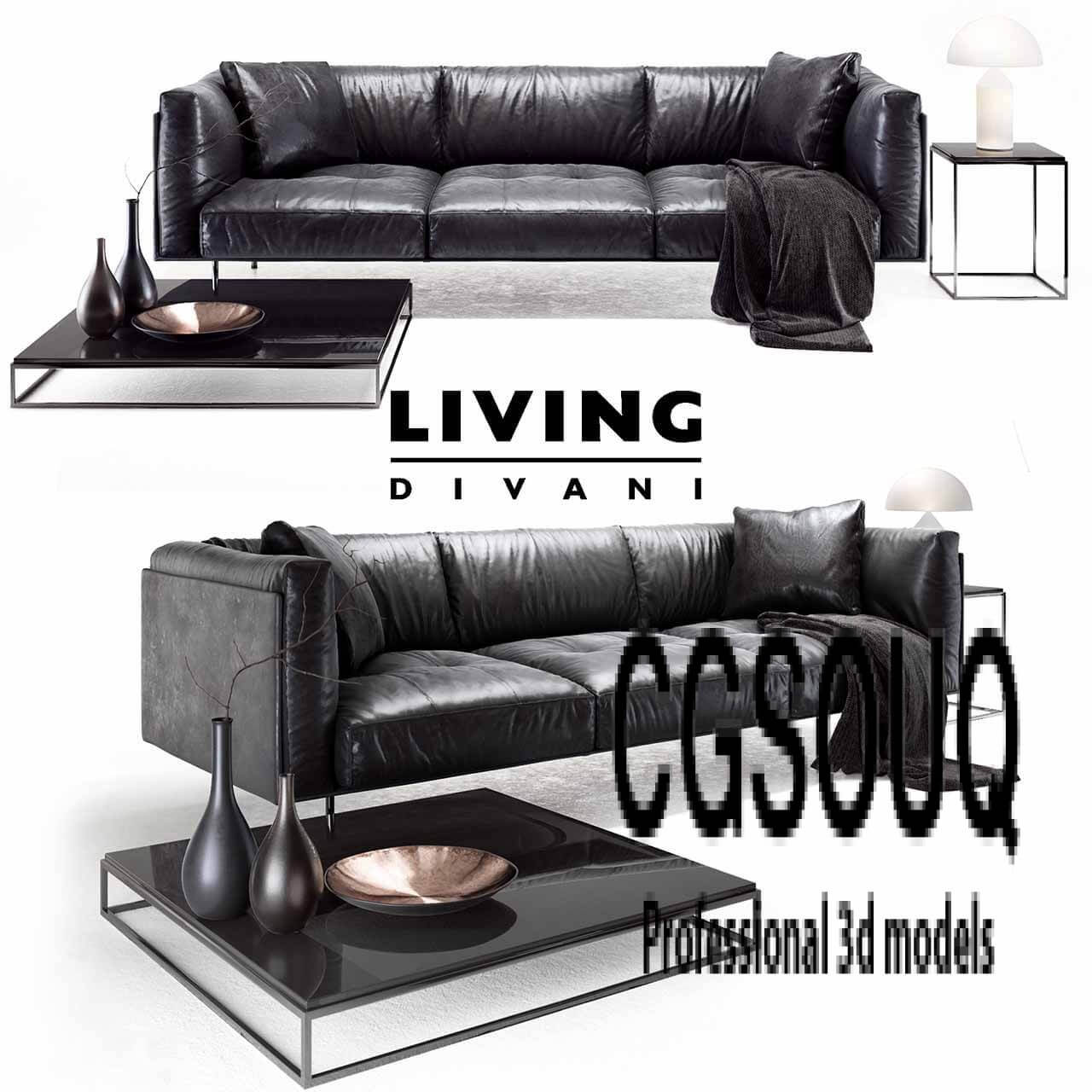 Divano Camden Molteni Living Divani Leather Rod Sofa 3d Model