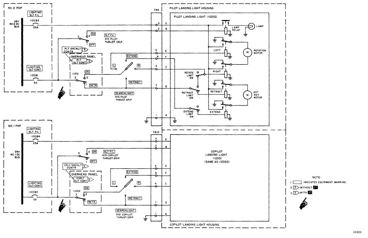 landing light wiring to schematic