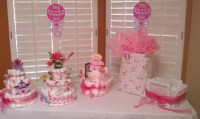 Tables, Chairs, Pink Linens Baby Shower