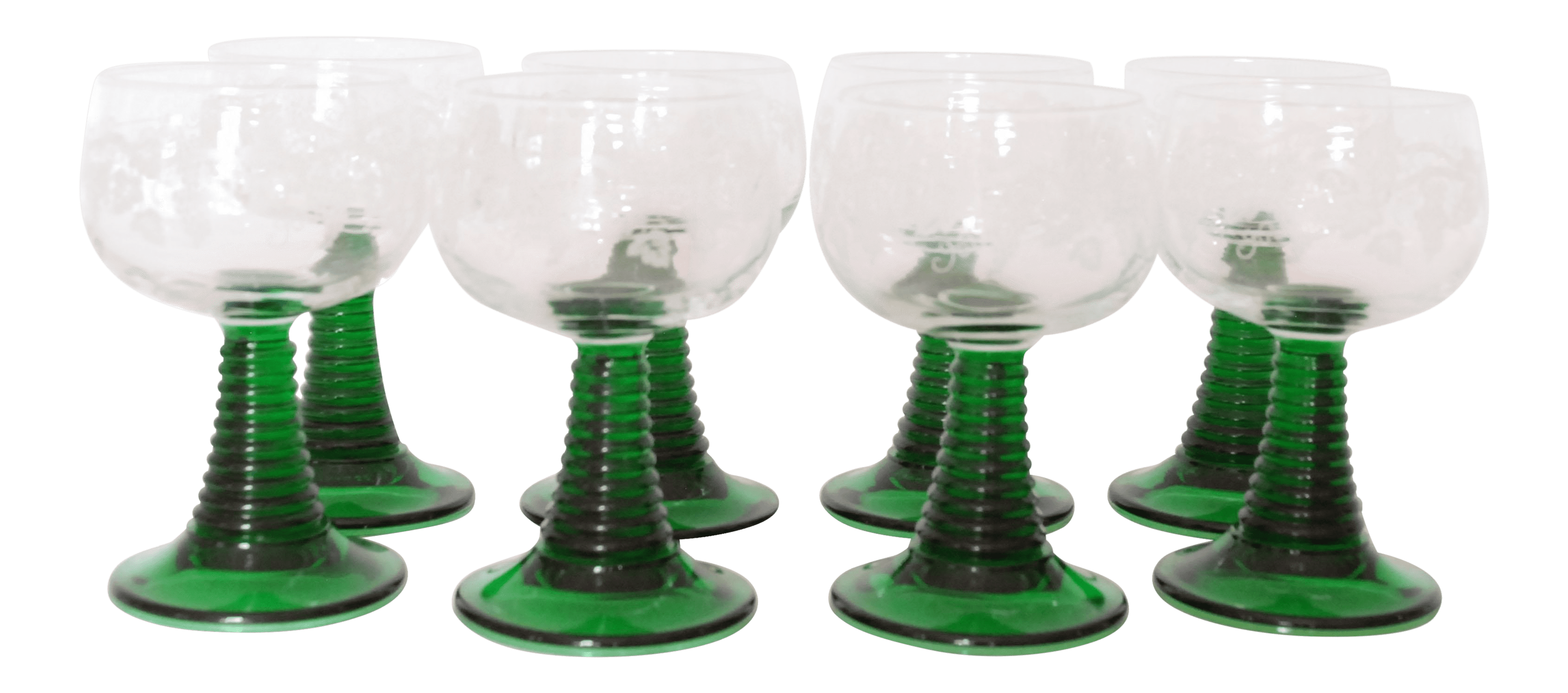 Luminarc Glass French Luminarc Green Stemmed Vintage Wine Glasses Set Of 8
