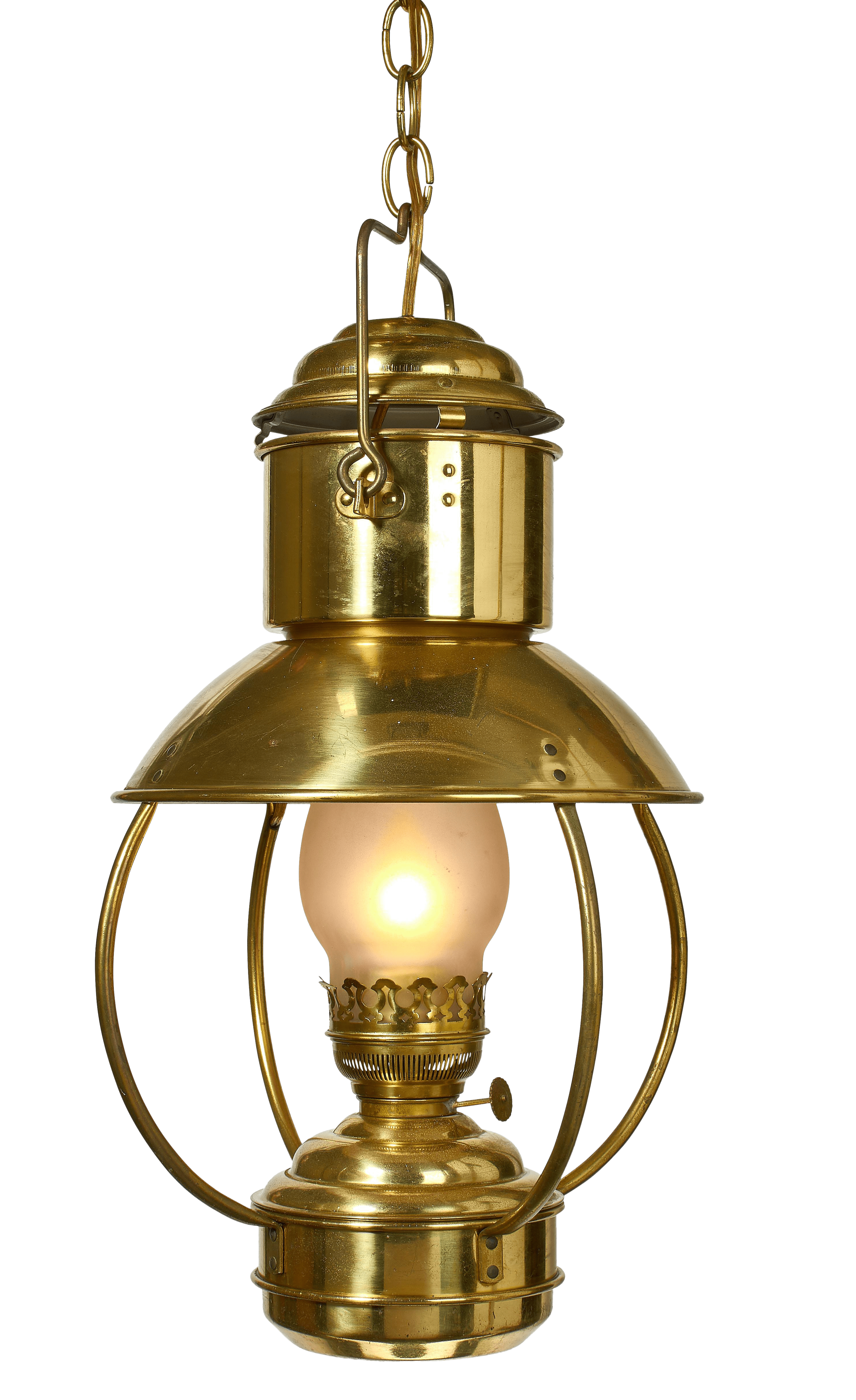 Modern Kerosene Lamp Antique Brass Converted Kerosene Lantern