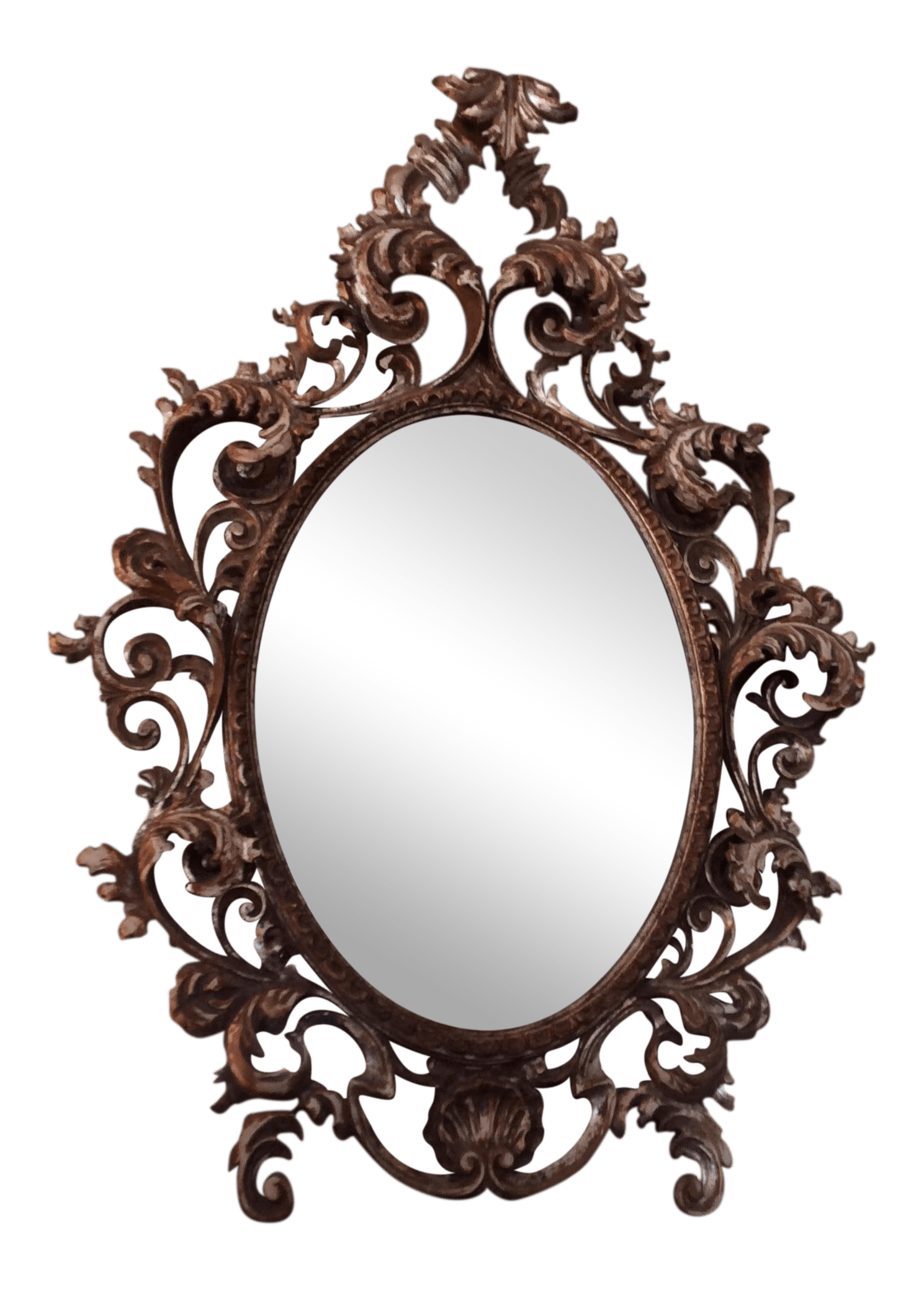 Oval Mirror Wood Frame Silvered Rococo Oval Mirror