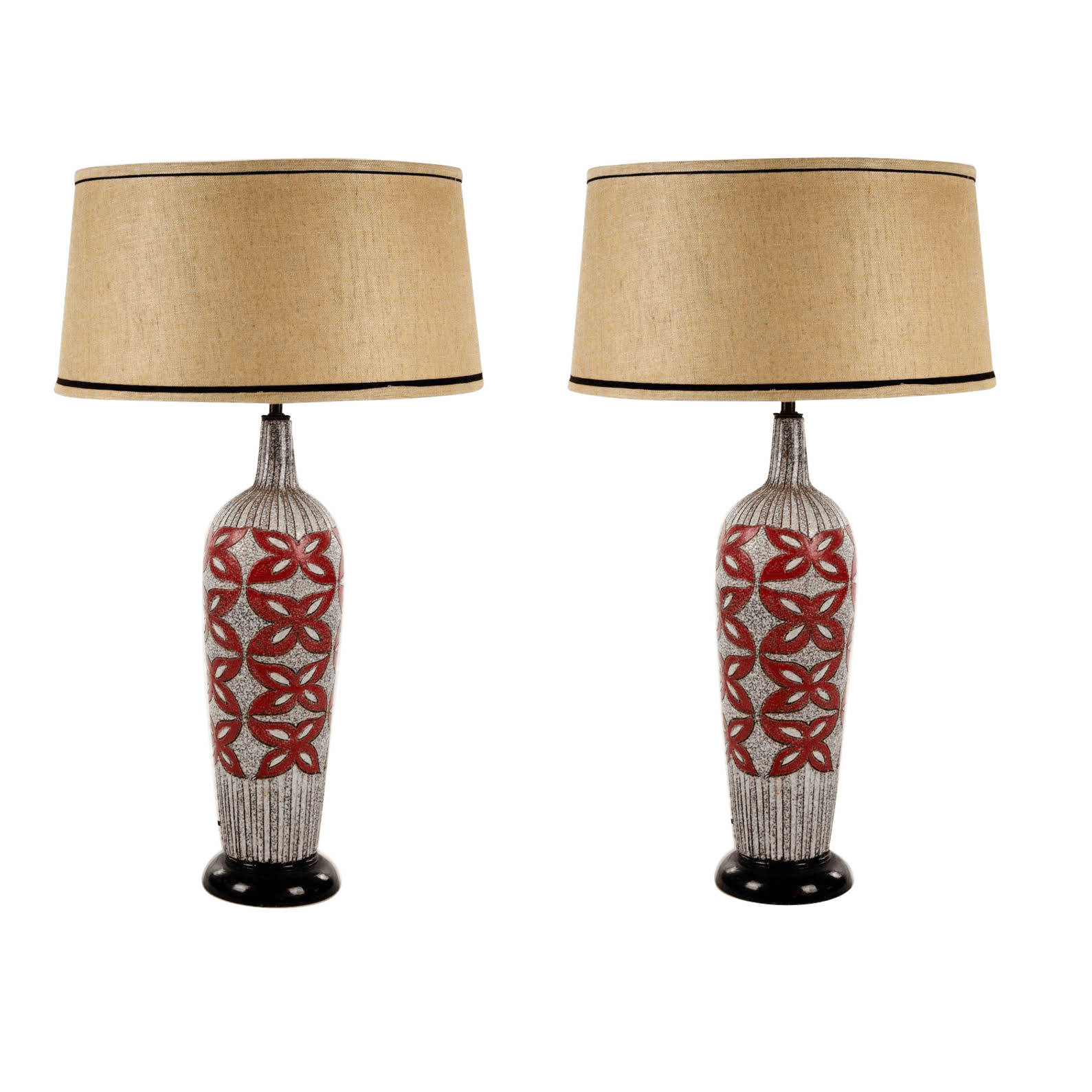 Funky Desk Lamps 1960s Mid Century Modern Textured Pottery Table Lamps A Pair