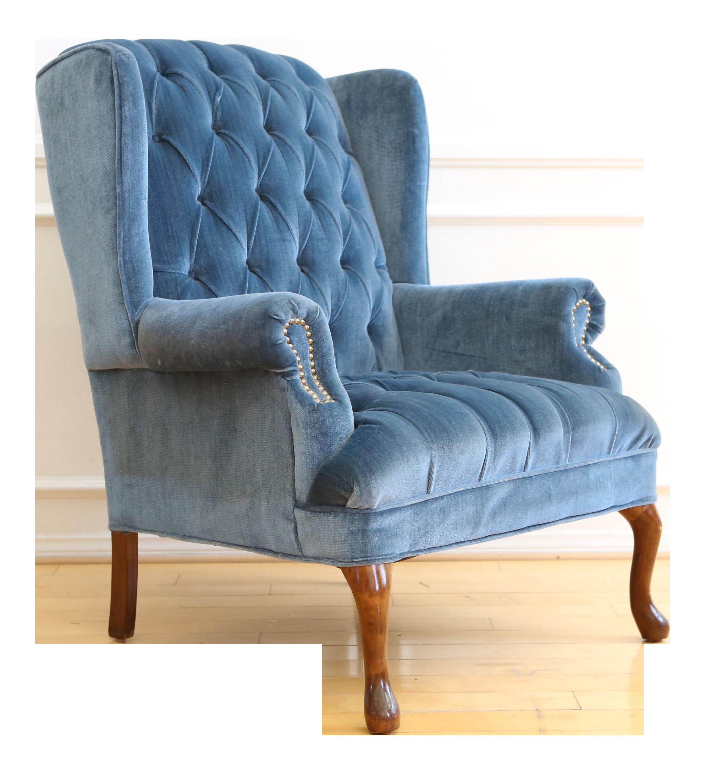 Vintage Blue Navy Tufted Velvet Wingback Chair Chairish