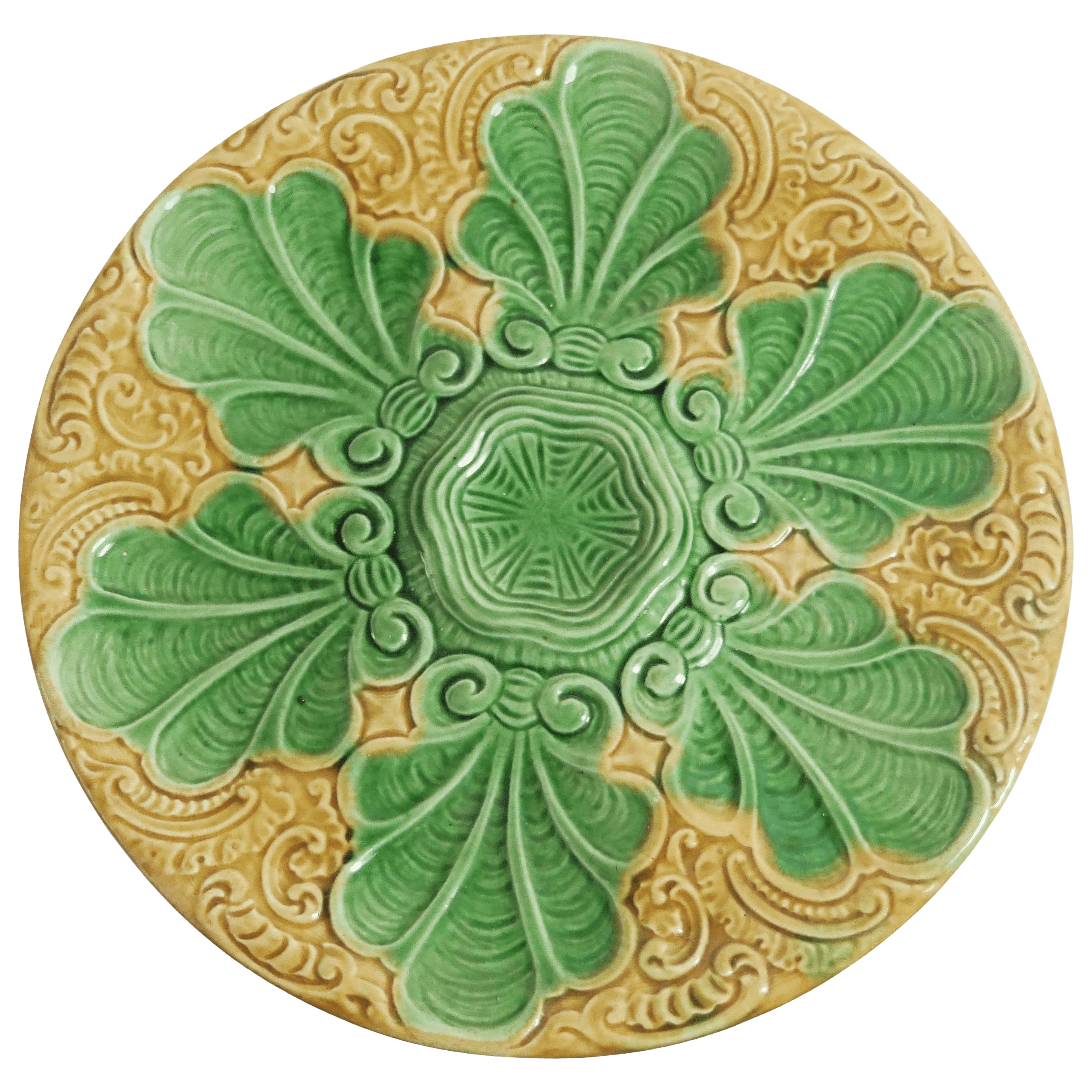 Art Nouveau Yellow 19th Century Art Nouveau Yellow And Green Majolica Oyster Plate