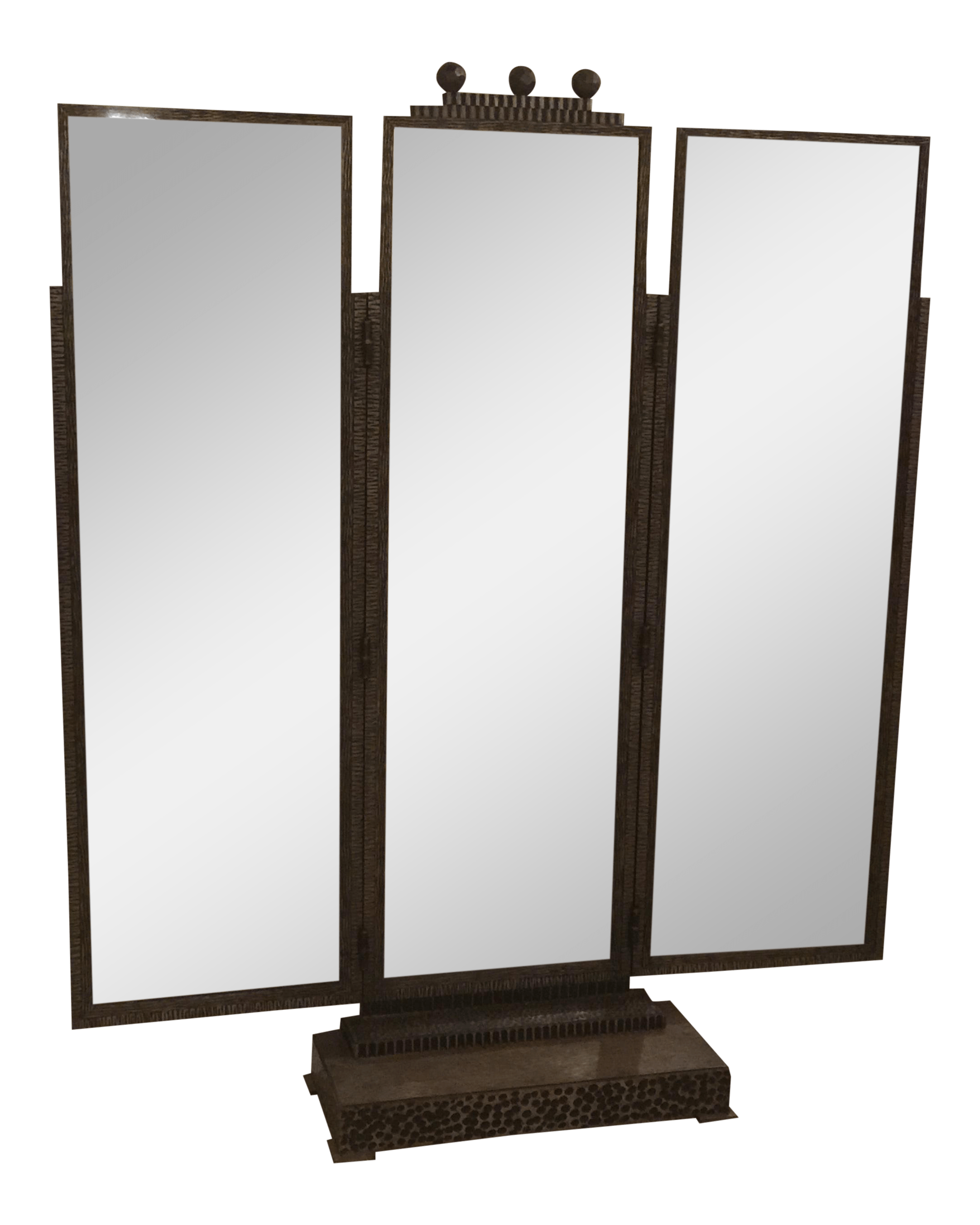 Standing Mirror Beautiful Jules Buoy Art Deco Wrought Iron Trifold Floor Standing Mirror