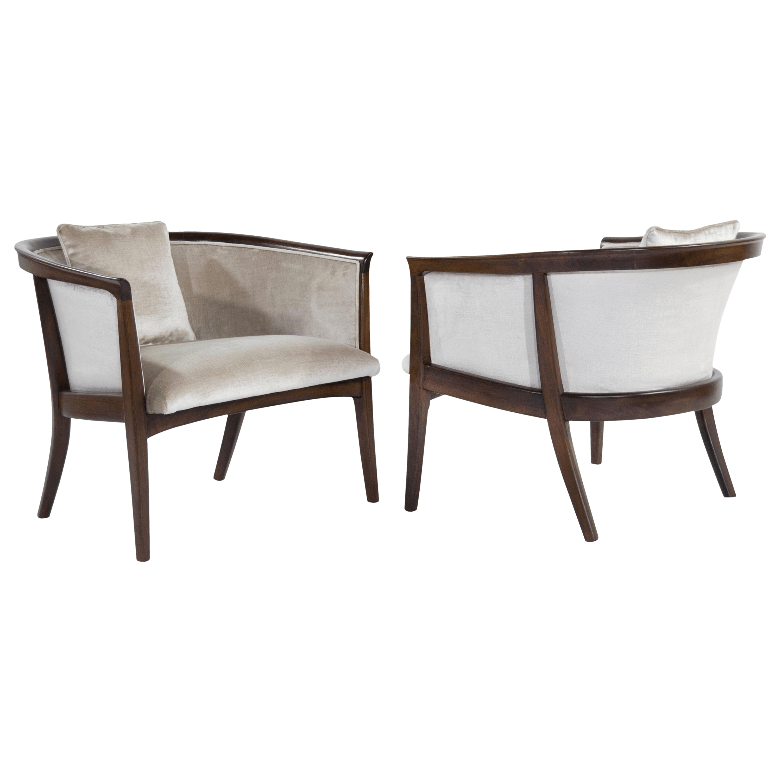 Tub Chairs Milo Baughman Walnut Frame Tub Chairs