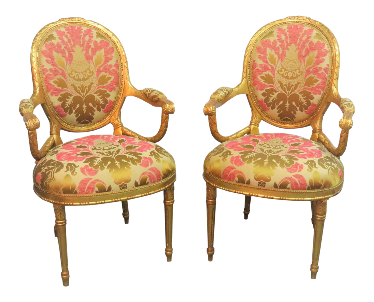 Fauteuil Chesterfield Fushia Lewis Mittman Giltwood Carved Fauteuils A Pair