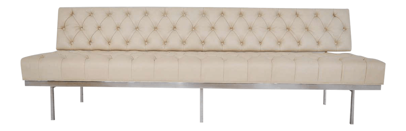 Knoll Sofa Florence Knoll Stainless Steel With Tufted Leather Sofa
