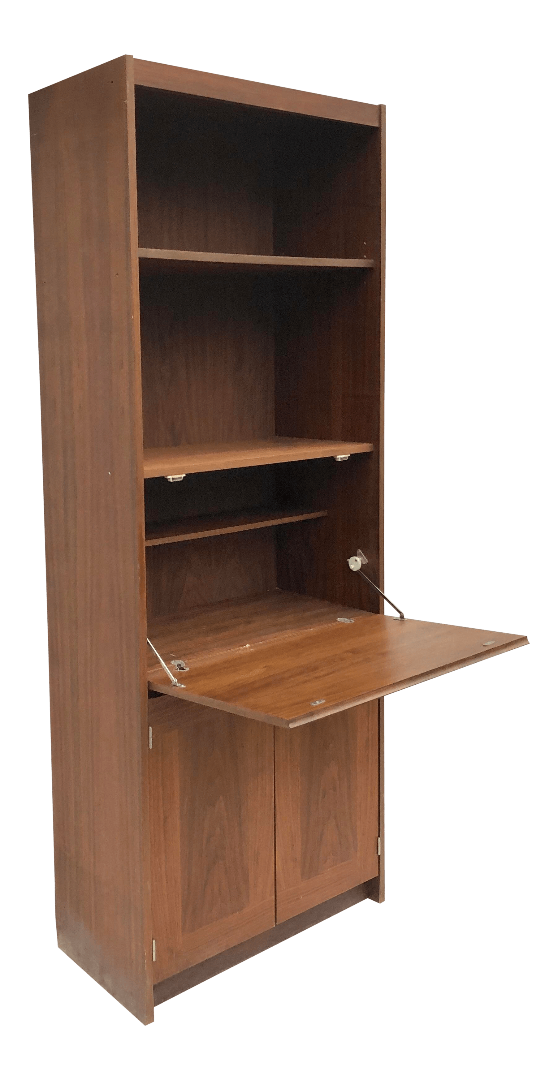 Vintage Bookcase Mid Century Bookcase With Drop Front Cabinet