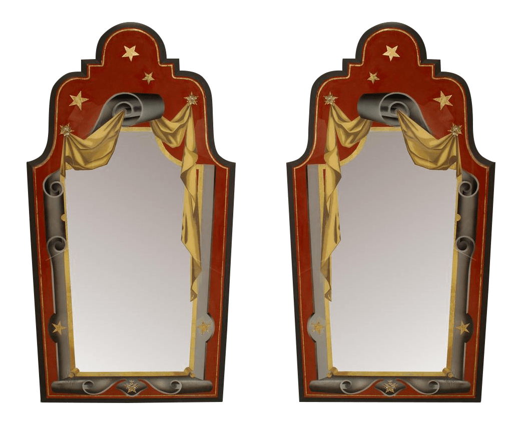 Art Deco Style Mirror Italian Art Deco Style Red Gold And Grey Painted Eglomise Wall Mirrors A Pair