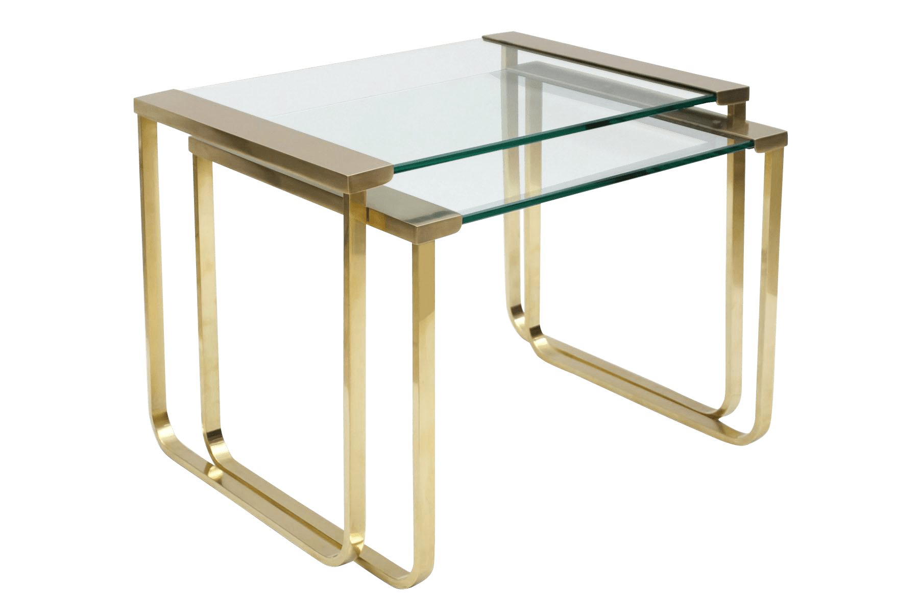 Glass Nesting Tables Italian Mid Century Brass And Glass Nesting Tables By Sergio Mazza For Cinova