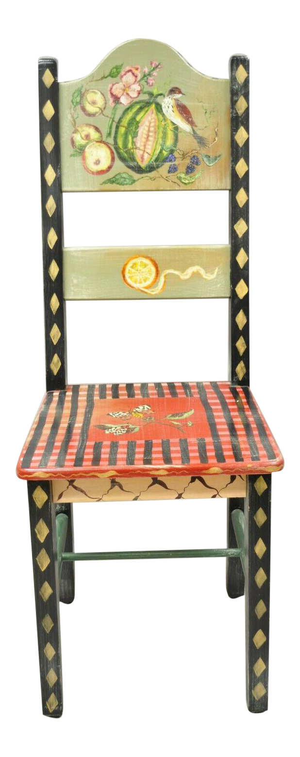 Late 20th Century French Country Style Handpainted Fruit Bird Butterfly Side Chair Chairish