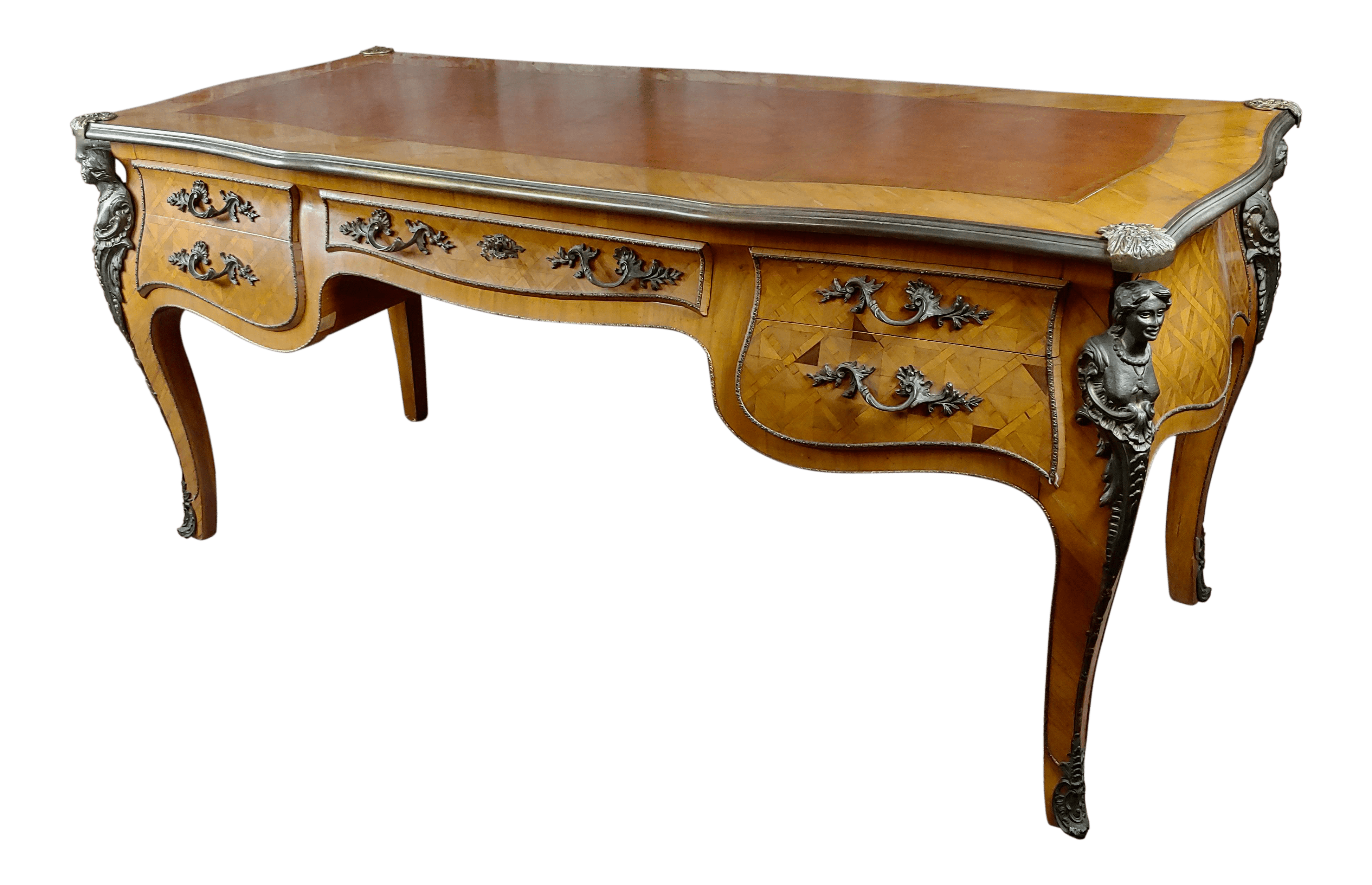 Table Bureau Louis Xv Bureau Plat Bronze Mounted Inlaid Parquetry And Leather Top Desk