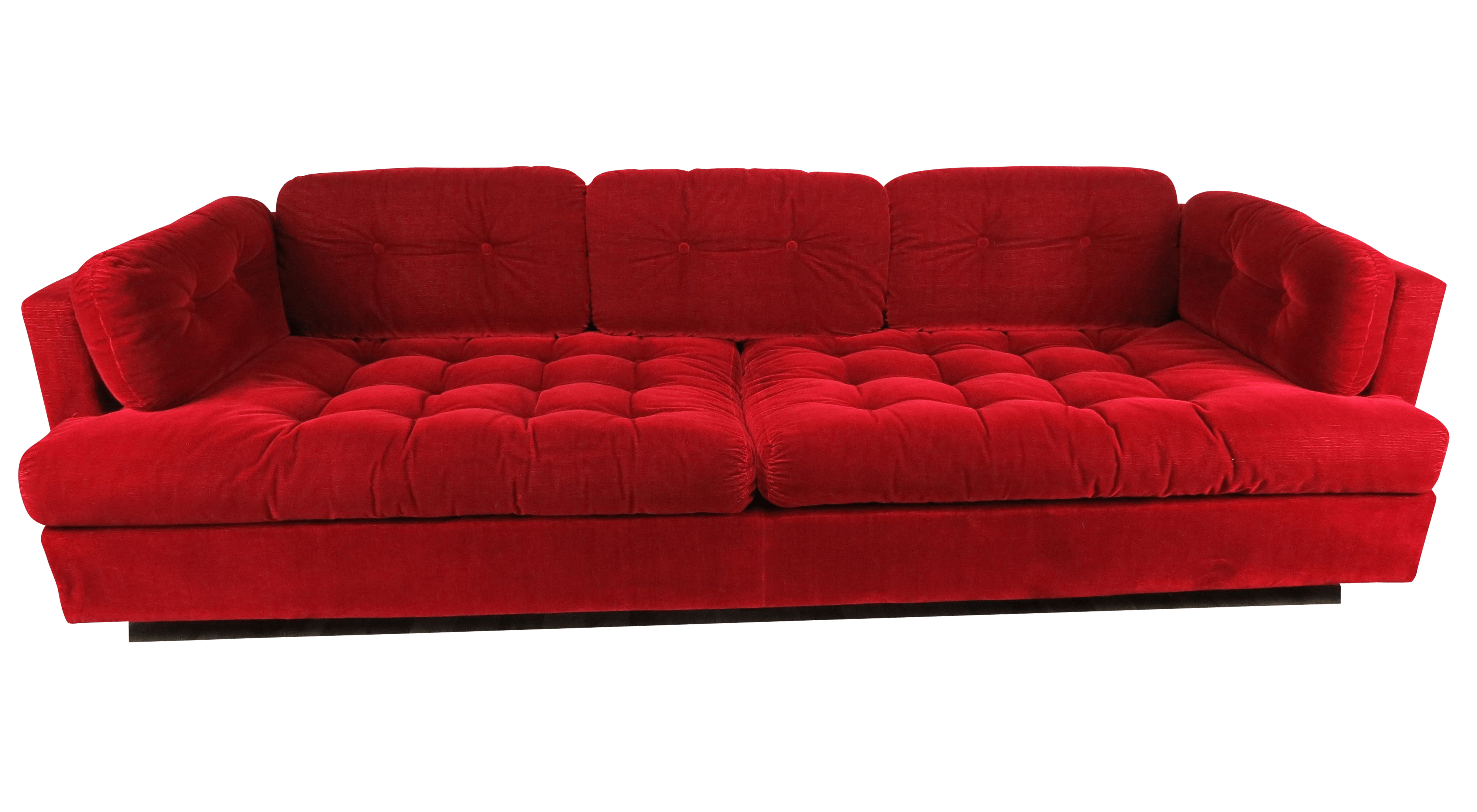 Cord Sofa 1960s Mid Century Modern Lipstick Red Button Tufted