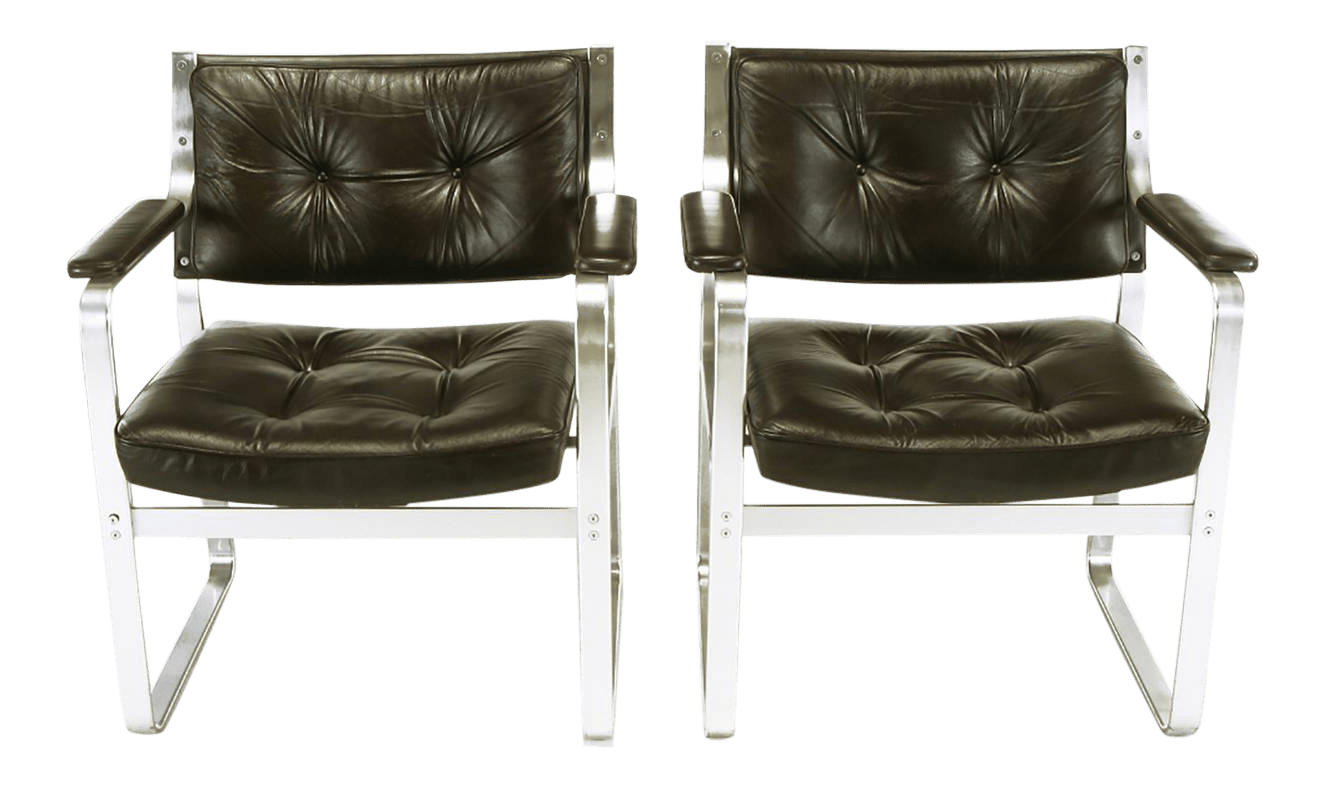 Möbel Carlsson Pair Karl Erik Ekselius Leather And Aluminum Mondo Armchairs