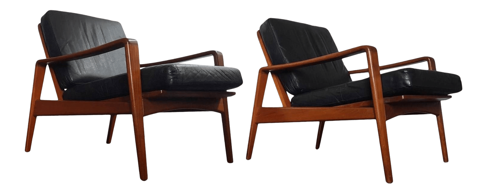 Danish Modern 1960s Teak Lounge Easy Chairs By Arne Wahl Iversen A Pair Chairish