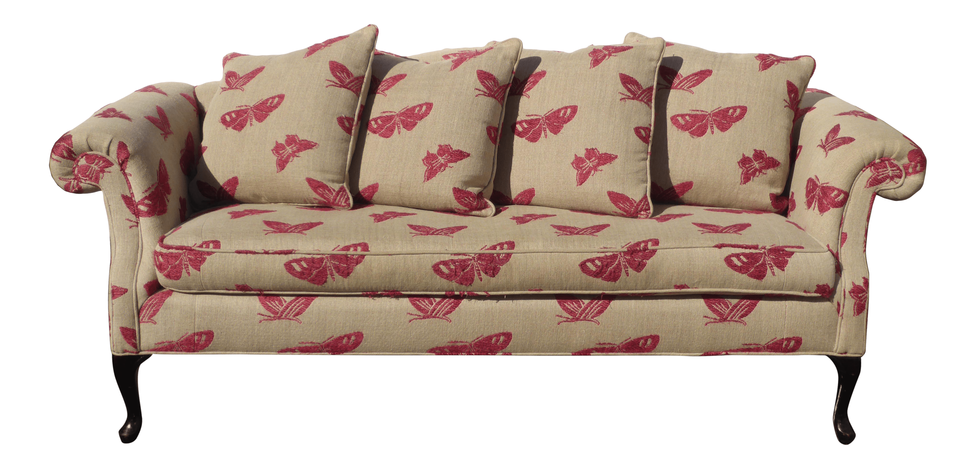 Vintage Couch Vintage Sofa Pink Butterflies On Beige Linen French Country Couch Down Feathers