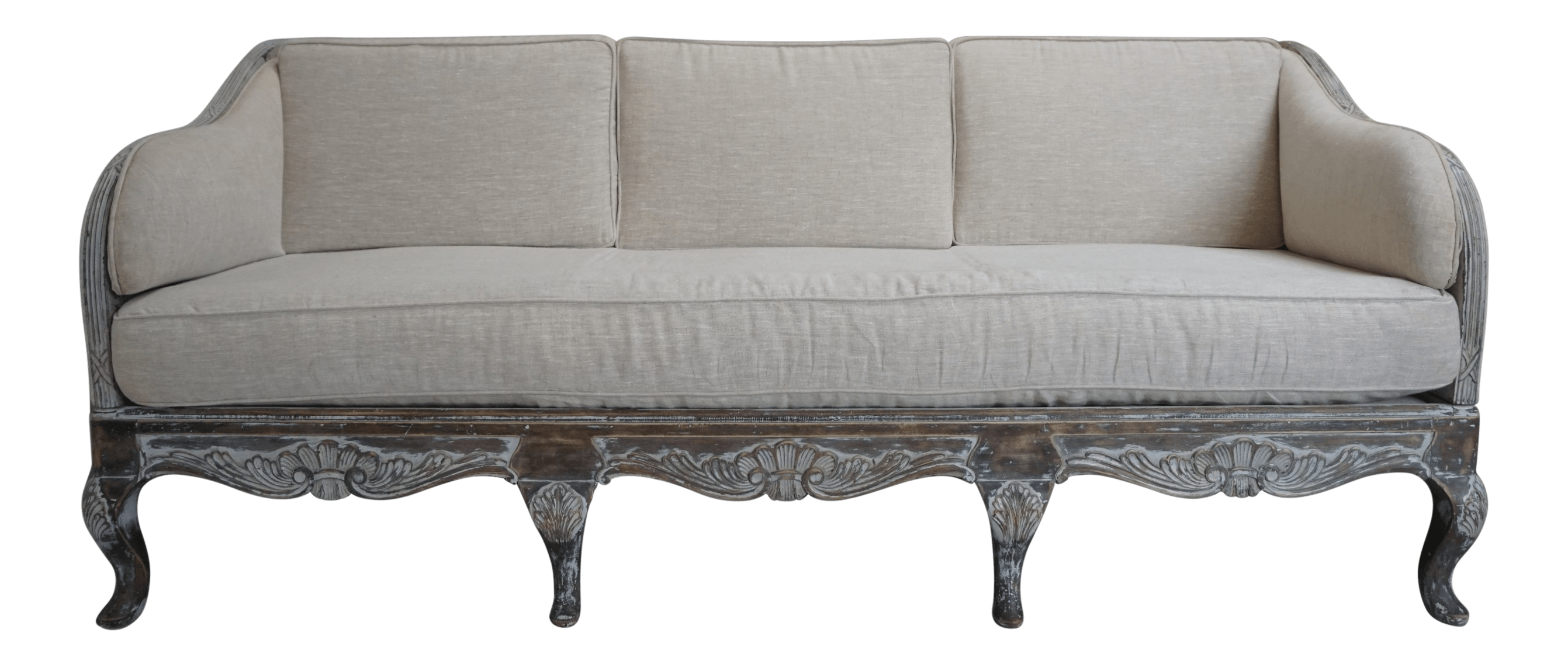 Canape Sofa French Louis Xv Style Belgian Linen Canape Sofa