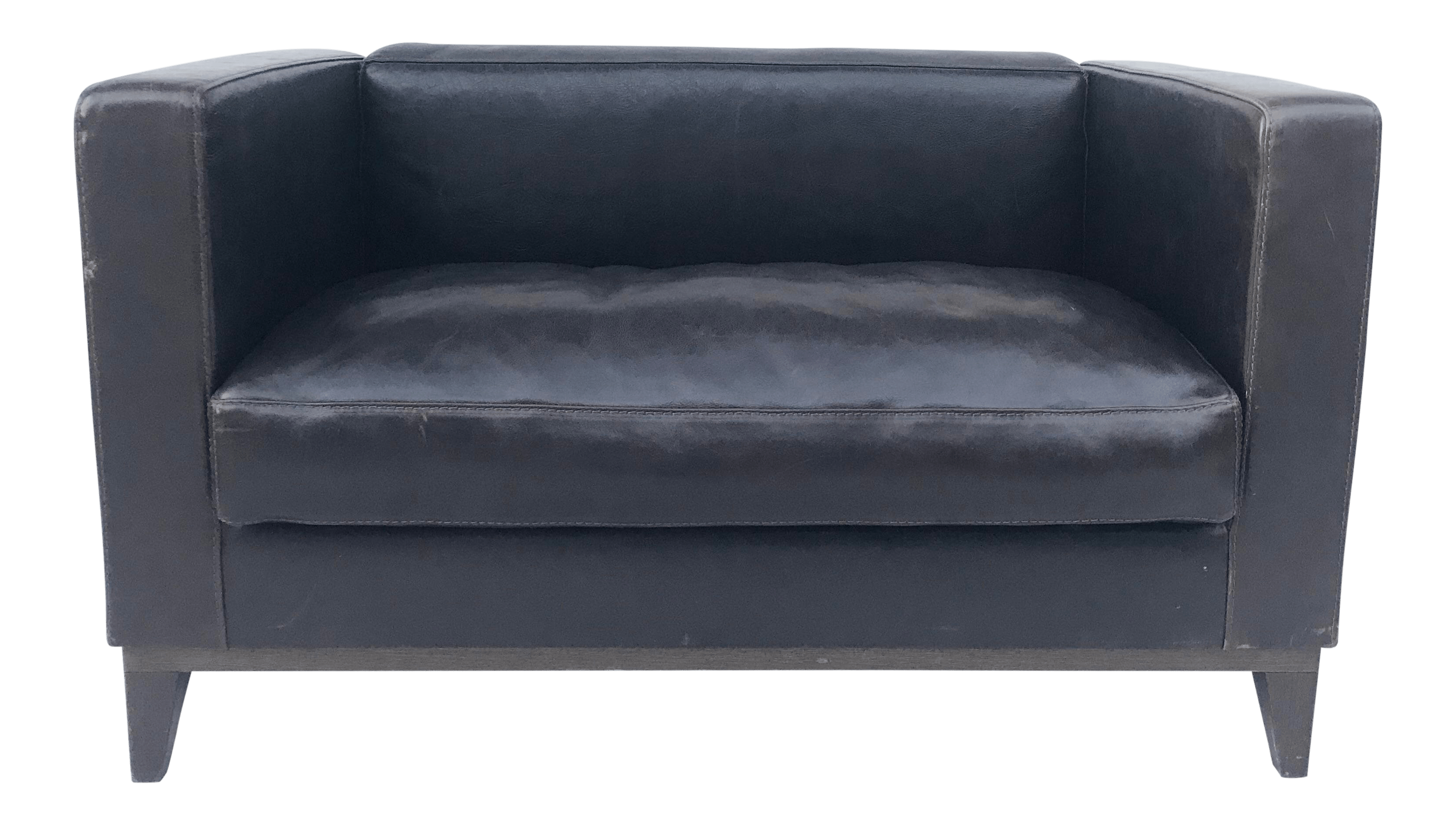 Settee Loveseat Late 20th Century Vintage Lambert Chocolate Leather Settee Loveseat Sofa