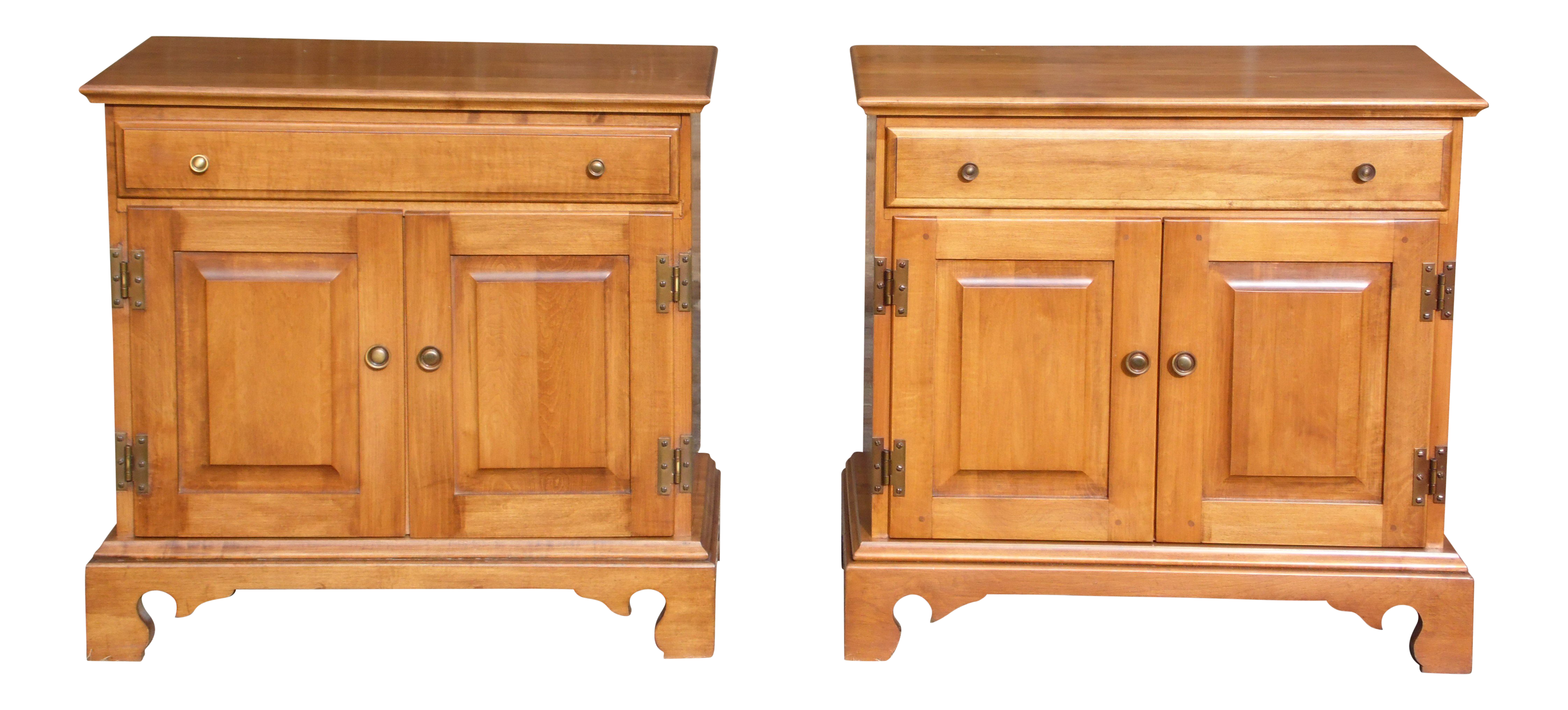 Pair Beal S Solid Rock Maple Nightstands Bedside Cabinets End Tables Record Cabinet Chairish