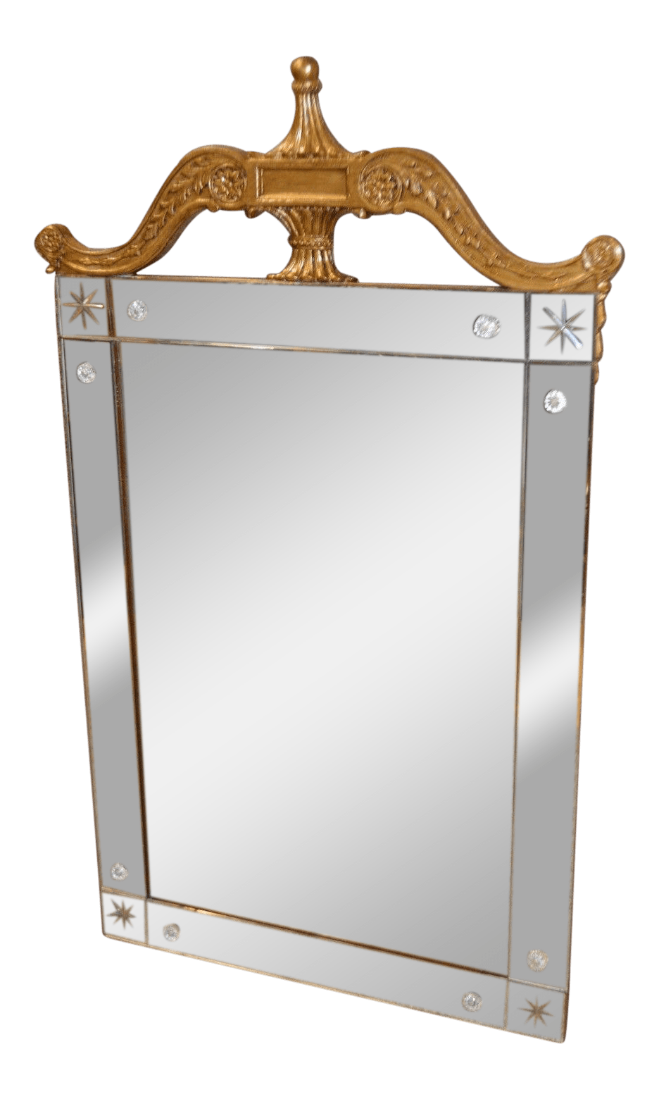 Art Deco Style Mirror Vintage Art Deco Style Etched Glass Wall Mirror With Carved Burnished Gold Frame