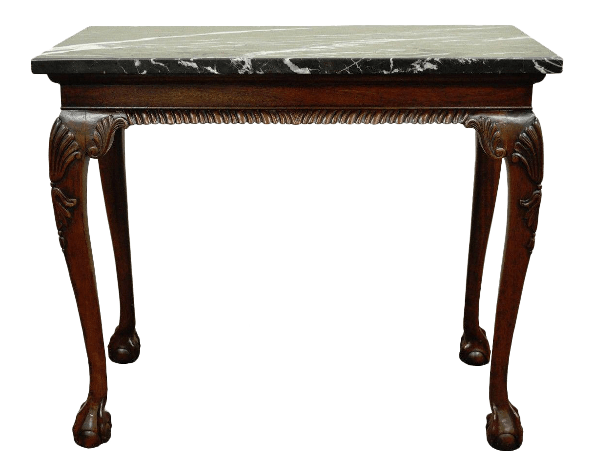 Vintage Hall Table Vintage Carved Mahogany Chippendale Style Ball And Claw Marble Top Console Table