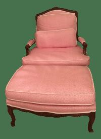 Queen Anne Pink Leopard Chair & Ottoman | Chairish