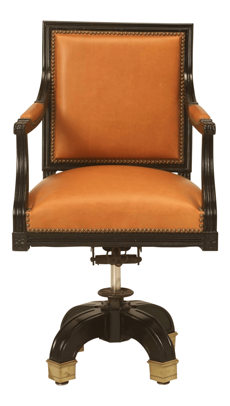 Saddle Office Chair French Louis Xvi Style Desk Chair Done In Ebony And Saddle Leather