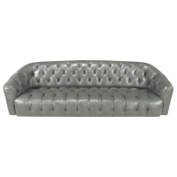Exceptional Baker Slate Grey Button-Tufted Leather Sofa ...