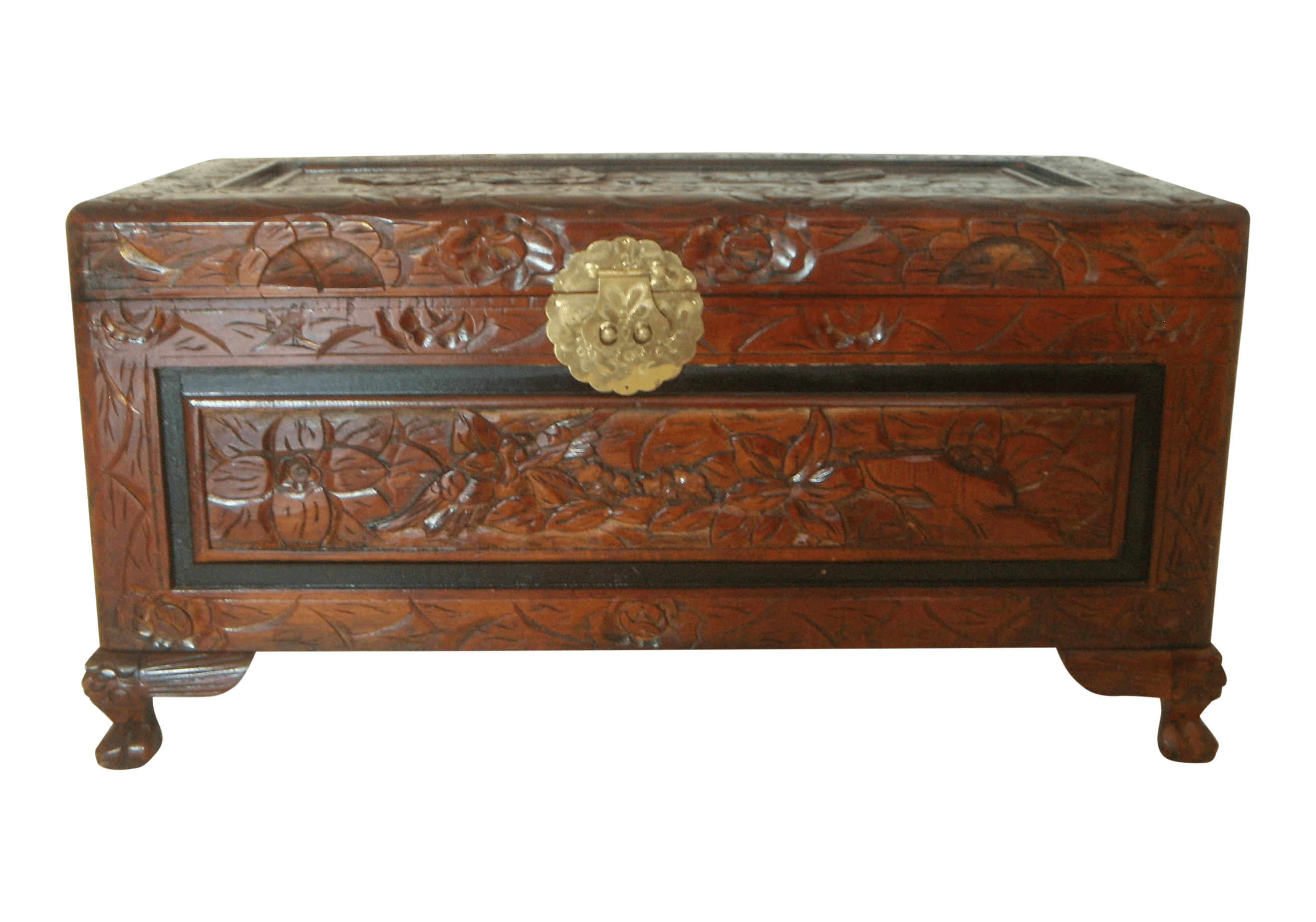 Wood Blanket Box Vintage Chinese Hand Carved Wood Storage Trunk Blanket Chest