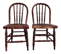 Maroon Rustic Children's Chairs - A Pair   Chairish